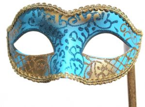 Turquoise Masquerade Mask  - Mask on a Stick | Masks and Tiaras